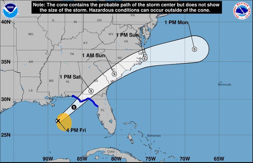Tropical Storm Nestor takes aim at Florida Panhandle