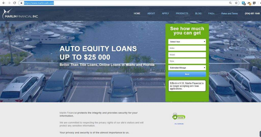 Under scrutiny, online auto lender Marlin Financial stops