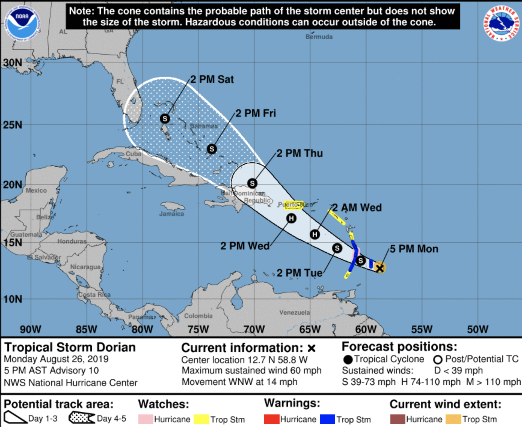 Dorian Is Likely To Become A Hurricane And Florida S Projected To