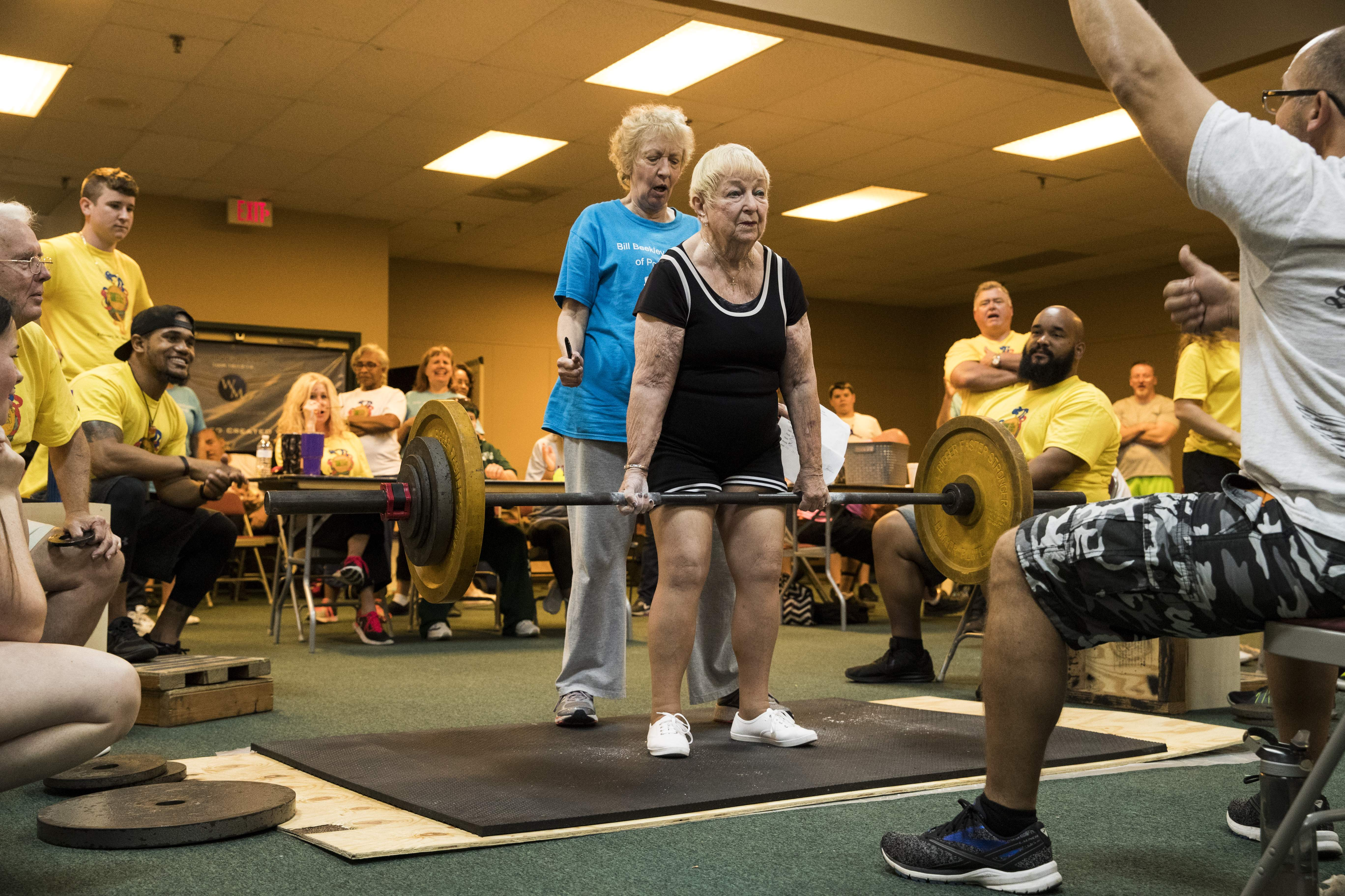 Look at grandma's guns: At 97, she flexes her muscle at