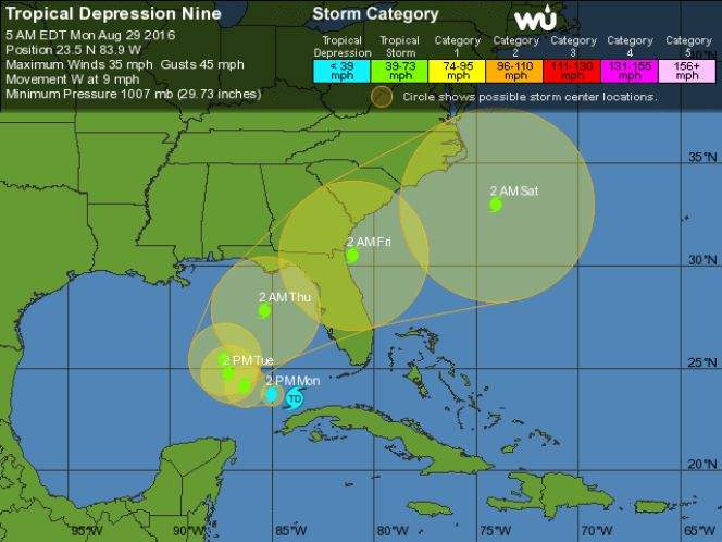 Invest 99L becomes Tropical Depression Nine, expected to