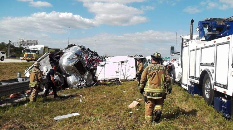 Vehicle and Airstream it was towing overturn on I-75 in
