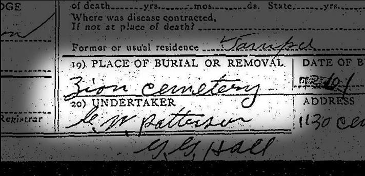 All 382 death certificates from Tampa's forgotten Zion Cemetery