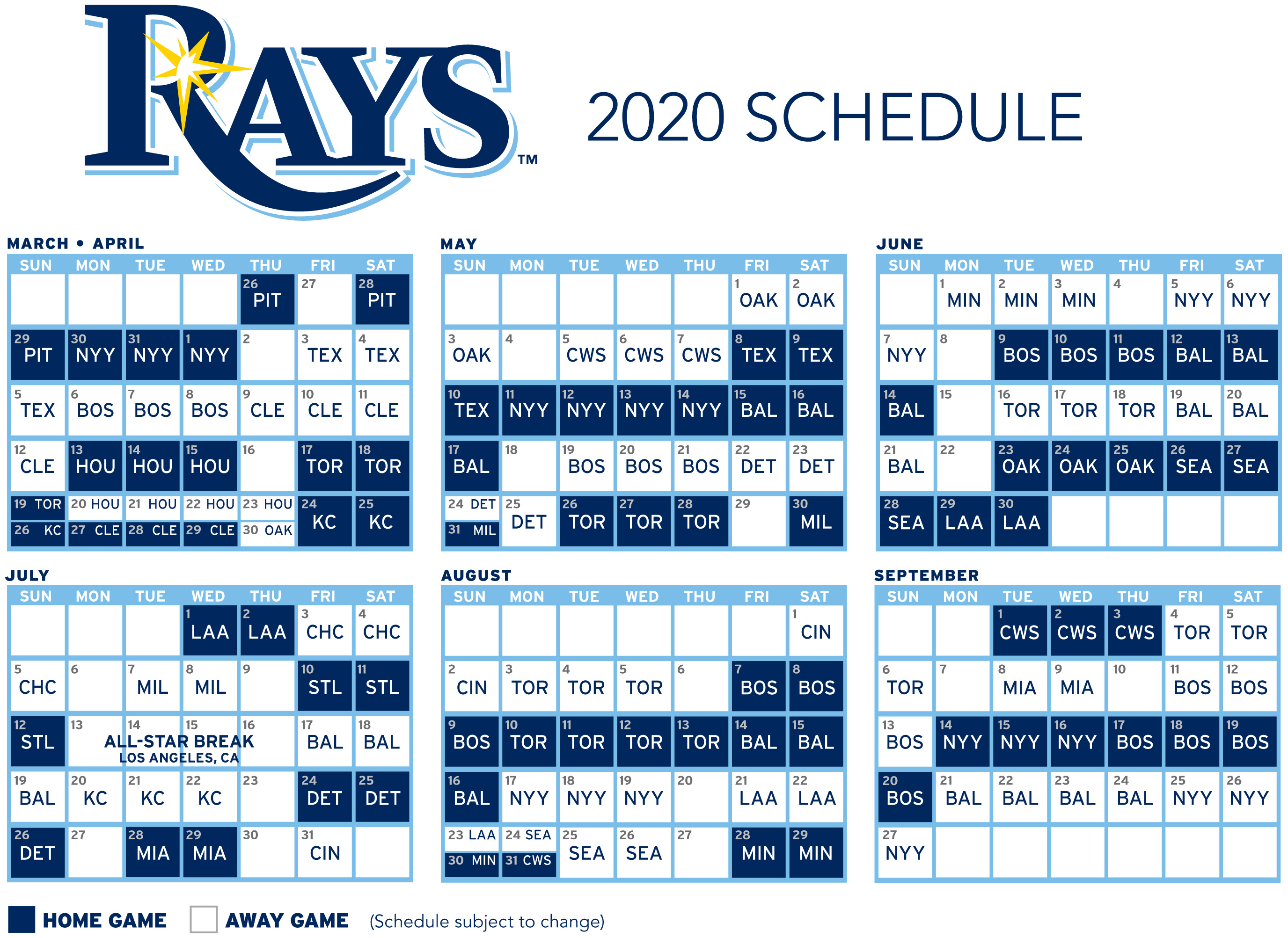 Mlb 2020 Schedule.Rays Will Finish 2020 Season With High Profile Games Against