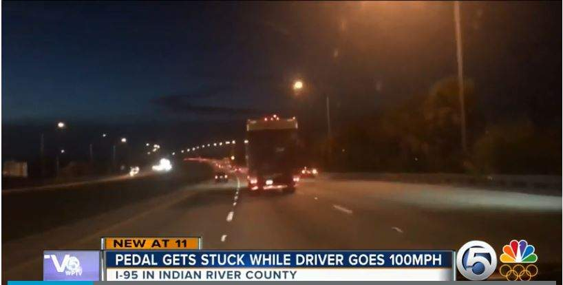 Driver tells 911 his gas pedal was stuck as it sped down