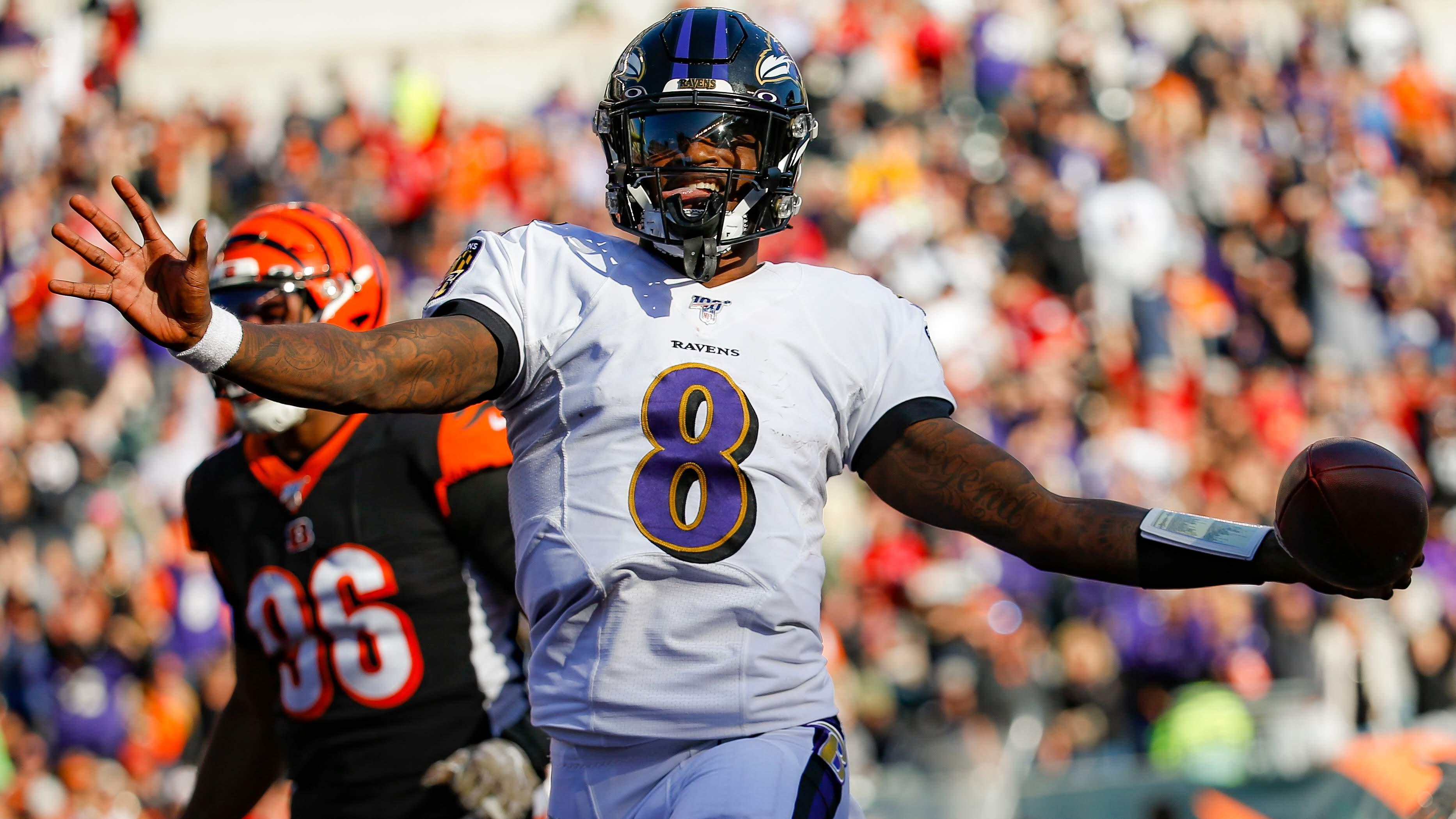 Baltimore's Lamar Jackson producing an MVP spin