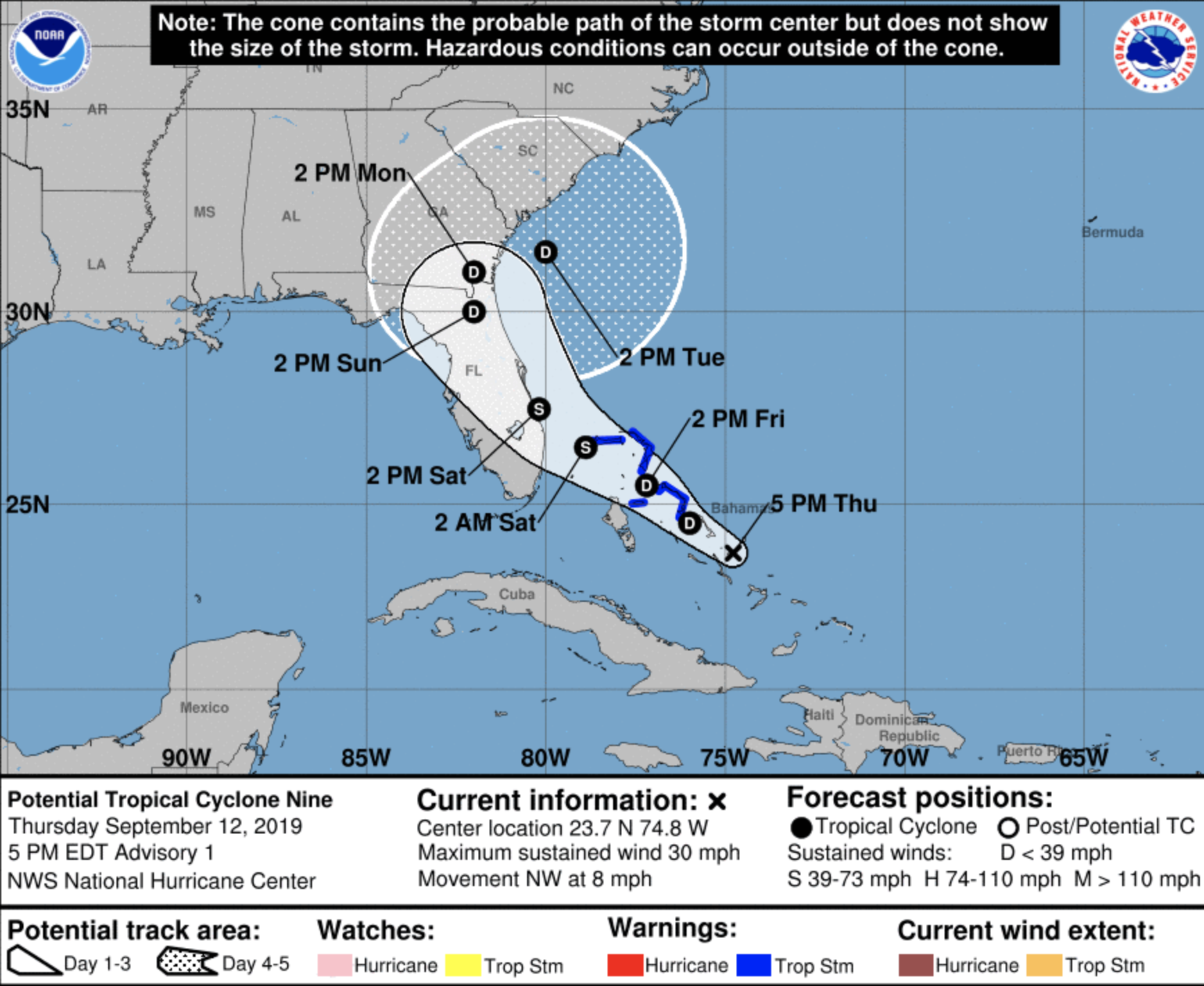 Tropical Disturbance Will Likely Strengthen Into Tropical Storm Humberto The Bahamas And Florida Are In Its Path