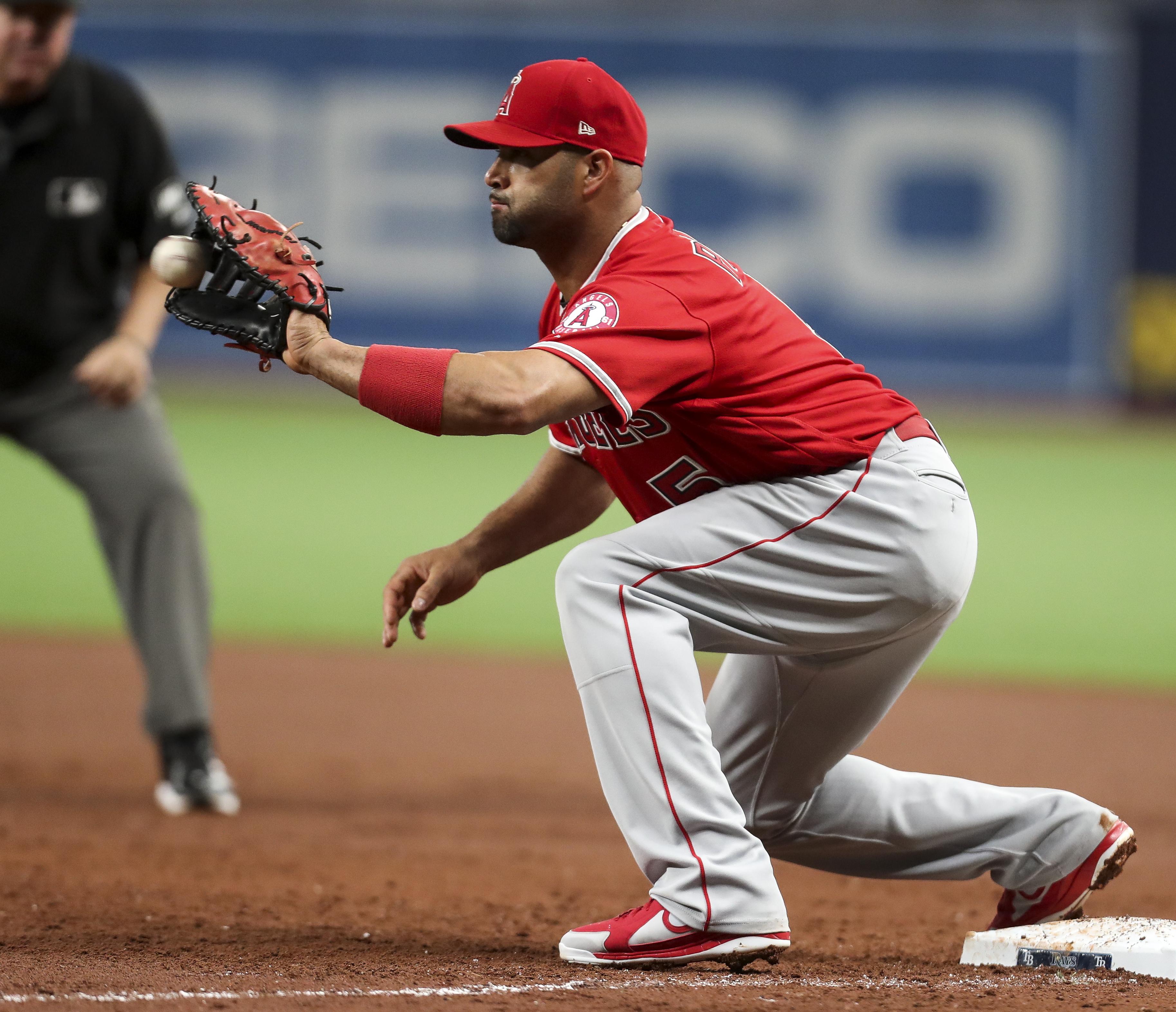 albert pujols career baseball angels angeles baseman celebrated needs rays herndon inning monica against friday second times during