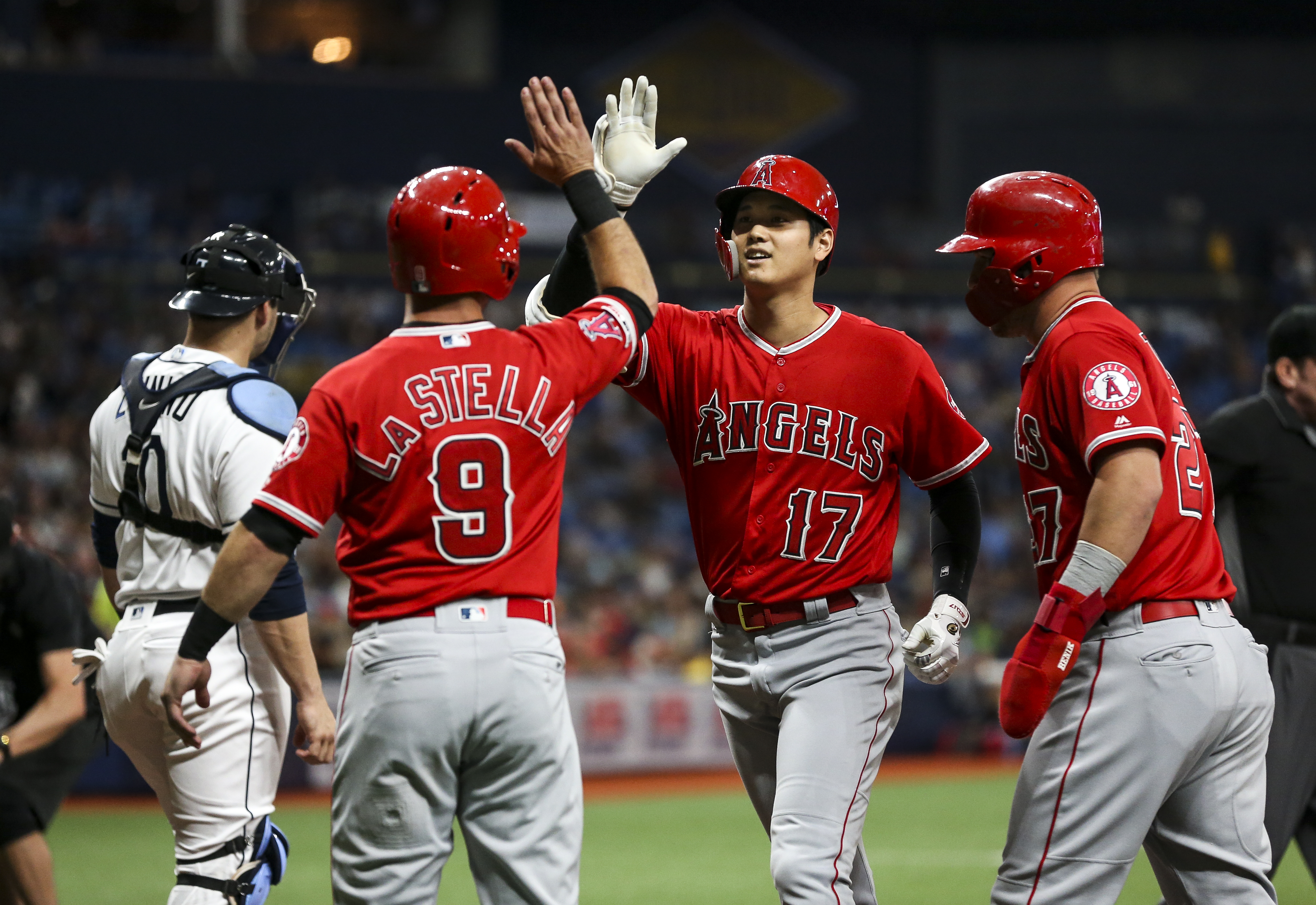 timeless design 237fd f2a01 Angels' Shohei Ohtani hits for the cycle against Rays