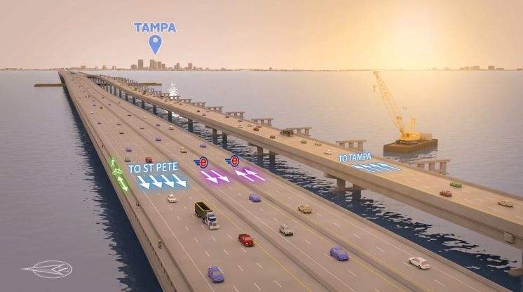 New 2024 Howard Frankland plan: 8-lane bridge with bike path