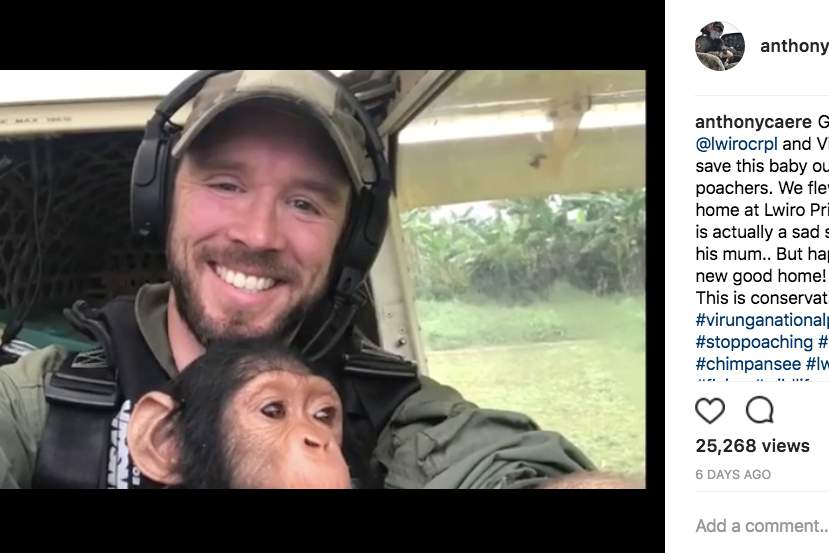 This pilot rescued a baby chimp and everyone swooned